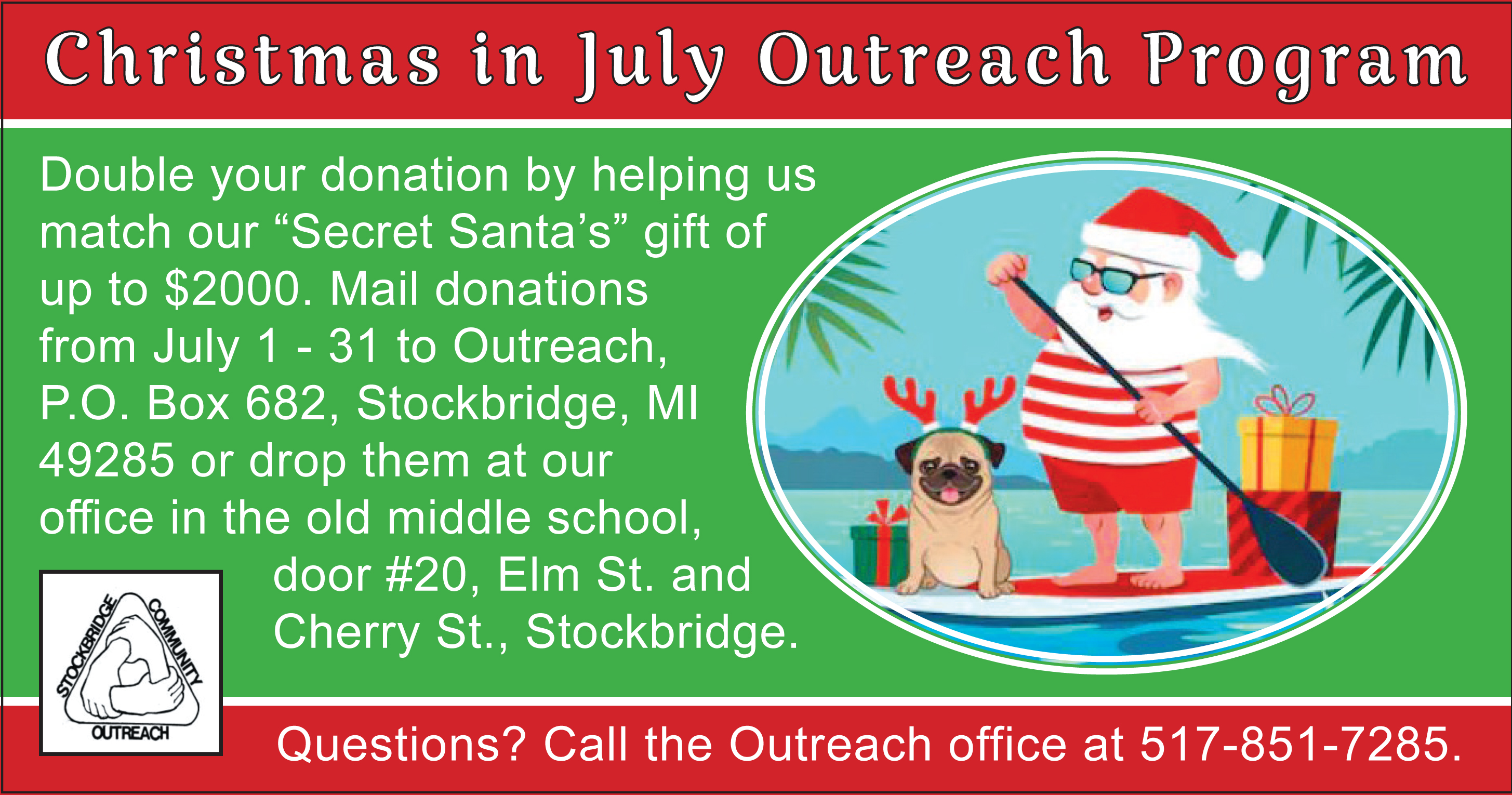 Mail On Christmas Eve 2019.Christmas In July At Stockbridge Community Outreach